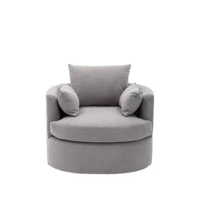 Storm Modern Linen Fabric Upholstered Swivel Barrel Accent Chair with Toss Pillows