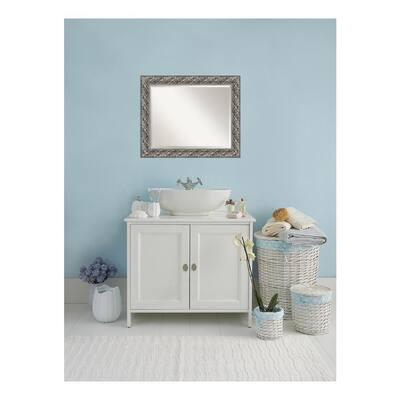 Silver 34 in. W x 28 in. H Framed Rectangular Beveled Edge Bathroom Vanity Mirror in Silver