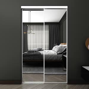 48 in. x 80.5 in. White Econo Mirror BR Sliding Closet Door
