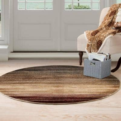 Opus Abstract Stripes Cream 5 ft. x 5 ft. Round Area Rug