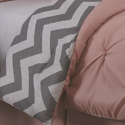 Ella Pinch Pleat Reversible Comforter Set with Bedskirt