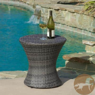 Phoebe Grey Round Wicker Outdoor Accent Table