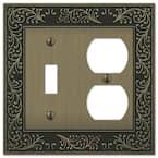 Bleinhem 2 Gang 1-Toggle and 1-Duplex Metal Wall Plate - Brushed Brass