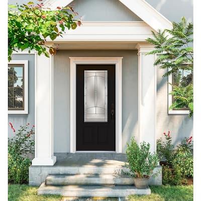 36 in. x 80 in. 3/4 Lite Idlewild Black Painted Steel Prehung Left-Hand Inswing Front Door w/Brickmould