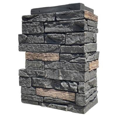 Slatestone Large 11.5 in. x 15.25 in. Polyurethane Faux Stone Outside Corner in Midnight Ash (4-Pack)