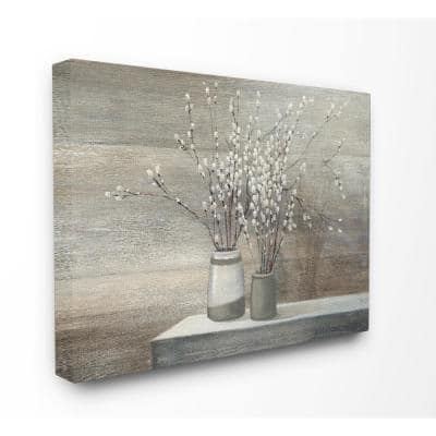 """30 in. x 40 in. """"Pussy Willow Still Life"""" by Wild Apple Printed Canvas Wall Art"""