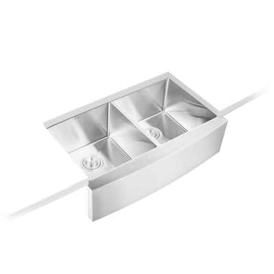 33 in. x 20 in. x 10 in. Stainless Steel Laundry/Utility Sink Handmade Apron Front Double Bowl with Basket Strainer