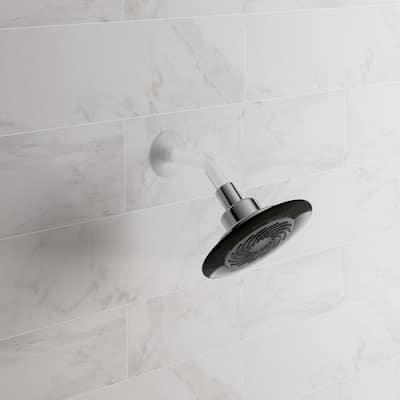1-Spray 5.5 in. Single Wall Mount Low Flow Fixed Shower Head in Gray