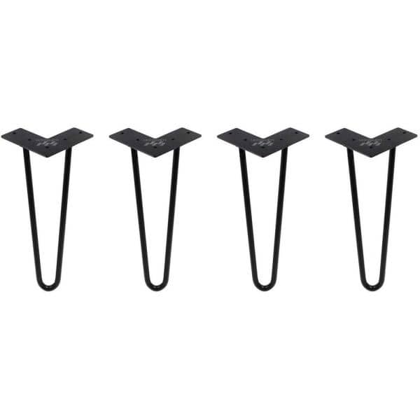 Black Metal Bench Hairpin Table Legs, Metal Legs For Furniture Home Depot