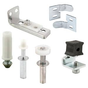 Bi-Fold Door Repair Kit, Fits 7/16 in. Dia Hole, 7/8 in. Outside Diameter Wheel, Spring-Loaded Guides