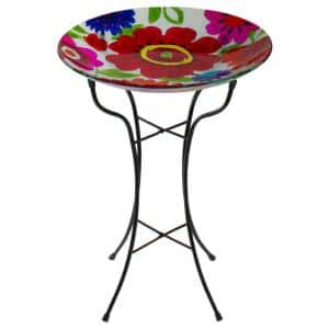 18 in. Red and Blue Summer Flowers Hand Painted Glass Outdoor Patio Birdbath
