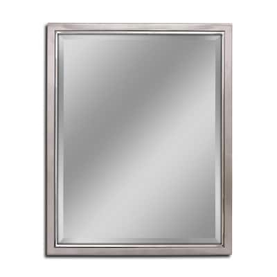 24 in. W x 30 in. H Framed Rectangular Beveled Edge Bathroom Vanity Mirror in Brush nickel with chrome inner lip