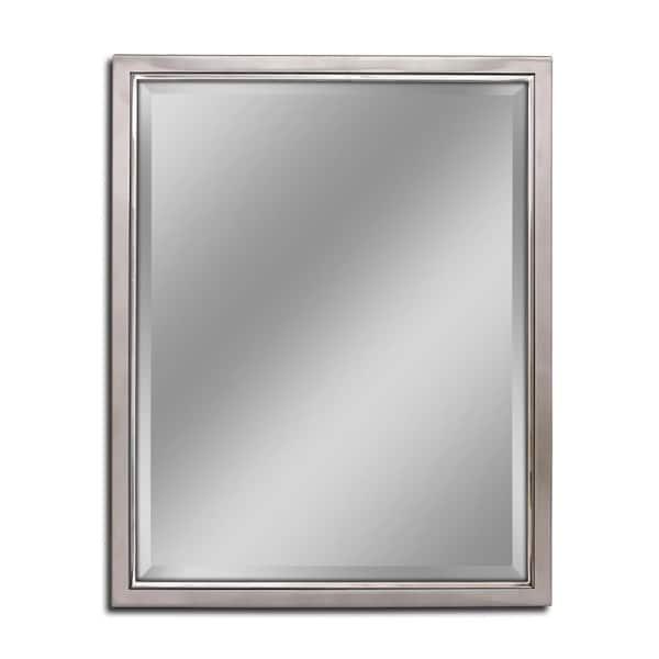 Deco Mirror 24 In W X 30 H Framed, Brushed Nickel Framed Vanity Mirror