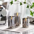 Gray Mirrored Glass LED Flameless Pillar Candles (Set of 3)