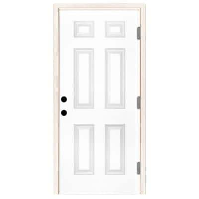 32 in. x 80 in. Premium 6-Panel Primed White Steel Prehung Front Door with 32 in. Left-Hand Outswing and 6 in. Wall