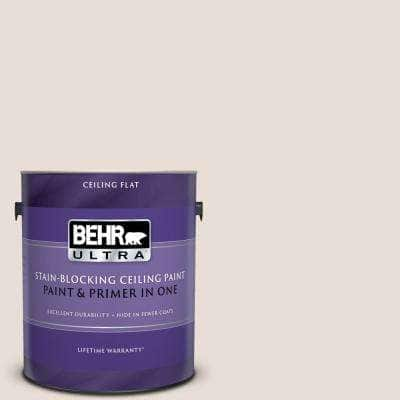 1 gal. #PPU2-04 Pale Cashmere Ceiling Flat Interior Paint and Primer in One