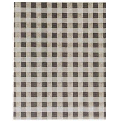 Checked Brown/Taupe 6x8 Area Rug - TPR