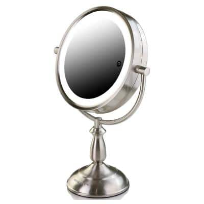 Nickel Brushed Lighted Tabletop Mirror, Smart Touch, Cool, Warm, Daylight LED Tones, 1X and 7X Magnification