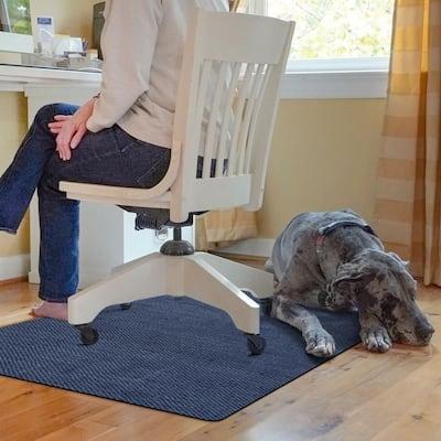 Barbury Weave 3 ft. x 4 ft. Desk Chair Mat - Navy