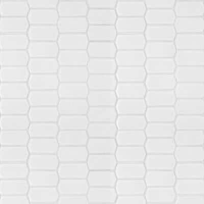 Retro Picket Bianco 13.99 in. x 10.76 in. x 8mm Glossy Porcelain Mesh-Mounted Mosaic Tile (10.5 sq. ft. / case)