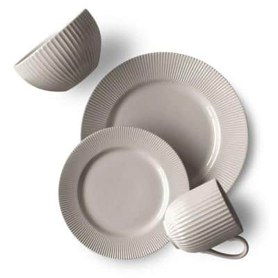 Chester 16-Piece Casual Grey Porcelain Dinnerware Set (Service for 4)