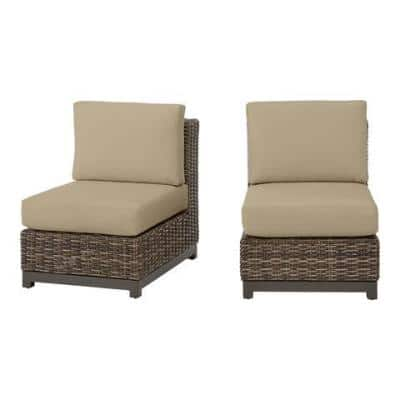 Fernlake Taupe Wicker Armless Middle Outdoor Patio Sectional Chair with CushionGuard Putty Tan Cushions (2-Pack)