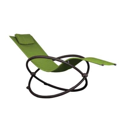 Orbital Charcoal Steel Frame Outdoor Acrylic Mesh Lounge Chair in Green