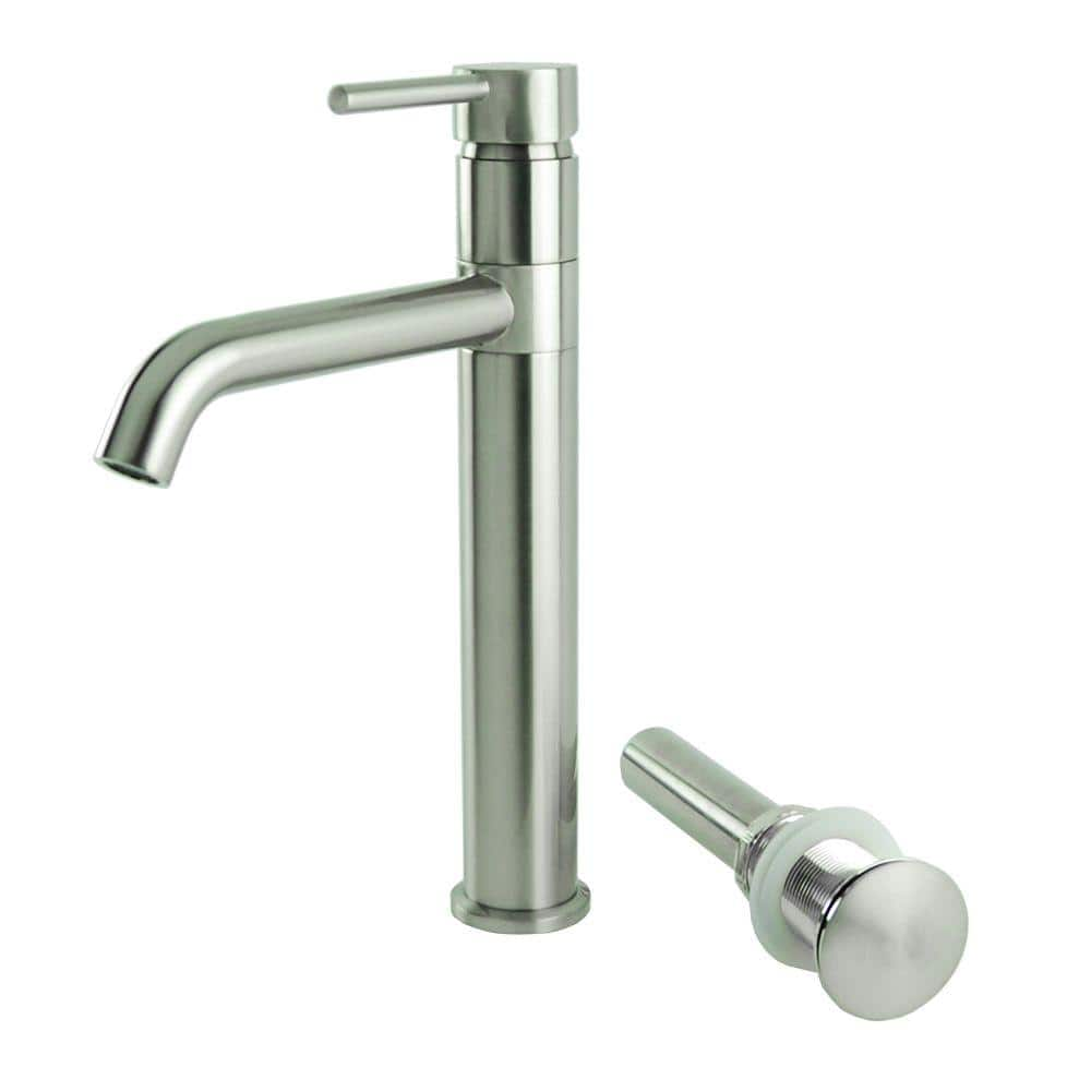Single Hole Single Handle Swivel Arm Euro Vessel Bathroom Faucet With Drain In Brushed Nickel N88119a1 Drn Bn The Home Depot