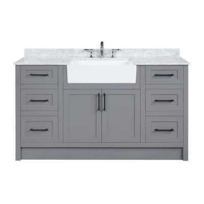 Laguna 60 in. Single Bath Vanity in Gray with Marble Vanity Top in Carrara White with Farmhouse basin