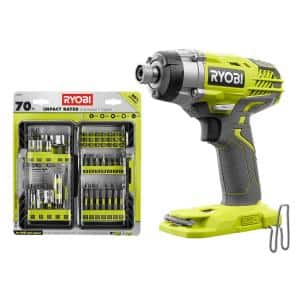 ONE+ 18V Cordless 3-Speed 1/4 in. Hex Impact Driver (Tool Only) with Impact Rated Driving Kit (70-Piece)