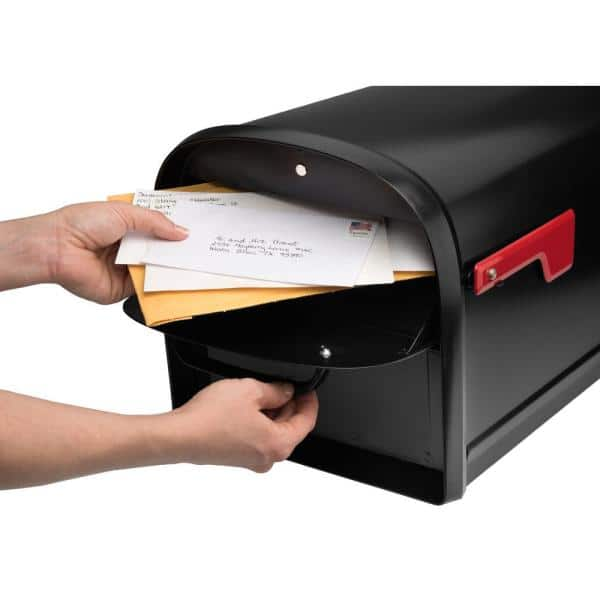 Architectural Mailboxes Oasis 360 Locking Parcel Mailbox With 2 Access Doors Black 6300b 10 The Home Depot