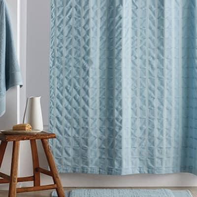 Organic Cotton 72 in. Spa Blue Shower Curtain