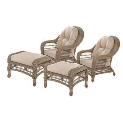 Saturn Collection 4-Piece Wicker Patio Conversation Set with Beige Cushions
