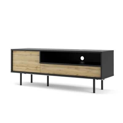 Match 54 in. Black Matte and Wotan Light Oak Engineered Wood TV Stand Fits TVs Up to 54 in. with Storage Doors
