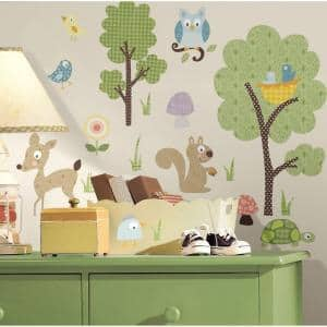 10 in. x 18 in. Woodland Animals 89-Piece Peel and Stick Wall Decals