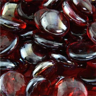 10 lbs. Semi-Reflective Ruby Fire Glass Beads for Indoor and Outdoor Fire Pits or Fireplaces