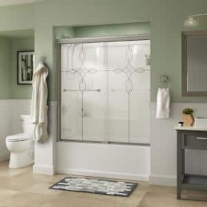 Everly 60 in. x 58-1/8 in. Traditional Semi-Frameless Sliding Bathtub Door in Nickel and 1/4 in. (6mm) Tranquility Glass