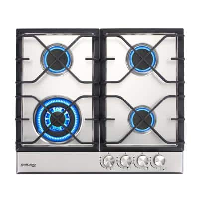 24 in. Built-in Gas Stove Top, LPG Natural Gas Cooktop in Stainless Steel with 4-Sealed Burners, ETL