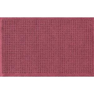 Aqua Shield Squares 18 in. x 27 in. PET Polyester Door Mat Bordeaux
