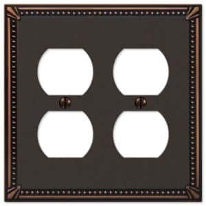 Imperial Bead 2 Gang Duplex Metal Wall Plate - Aged Bronze