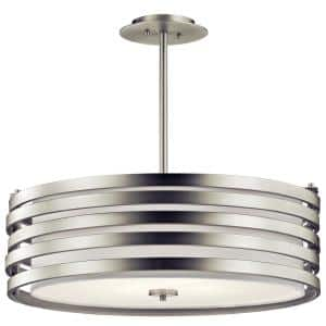 Roswell 4-Light Brushed Nickel Pendant Light with Satin Etched Diffuser and Off White Linen Shade