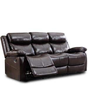 Dark Brown Classic Design Heavy Duty Faux Leather 3-Seat Sofa with Extended Leg Rest