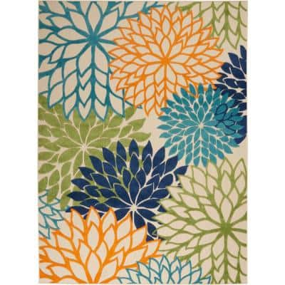 Aloha Multicolor 10 ft. x 13 ft. Floral Modern Indoor/Outdoor Area Rug