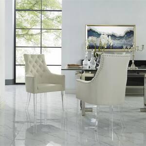Winona Cream White Linen Acrylic Leg Dining Chair (Set of 2)
