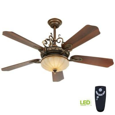 Chateau Deville 52 in. Integrated LED Indoor Walnut Ceiling Fan with Light Kit and Remote Control