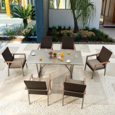 Thermal Transfer 7-Piece Wicker Patio Conversation Set with Khaki Cushions