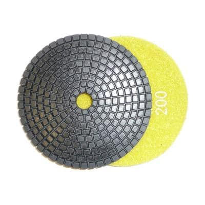 4 in. JHX Wet Diamond Polishing Pads for Granite/Concrete 200-Grit (Box of 10)