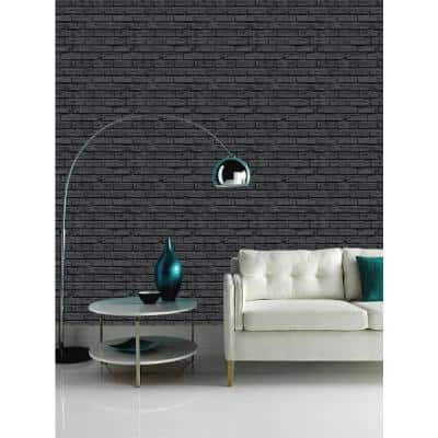 Black Brick Paper Non-Pasted Wallpaper Roll (Covers 57.26 Sq. Ft.)