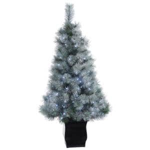 4 ft. Pre-lit Snowy Mountain Pine Artificial Christmas Tree with 150 LED Lights and Decorative Planter