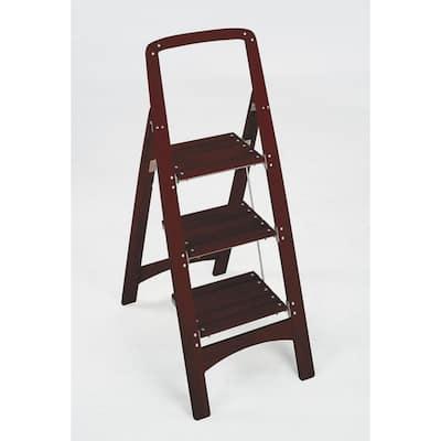 Rockford 3-Step Mahogany Wood Step Stool Ladder with 225 lb. Load Capacity Type II Duty Rating